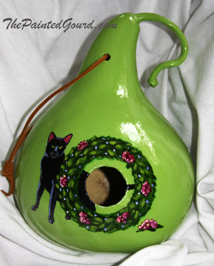 Christmas wreath black cat gourd birdhouse