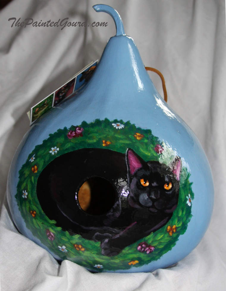 Black Cat gifts gourd birdhouse